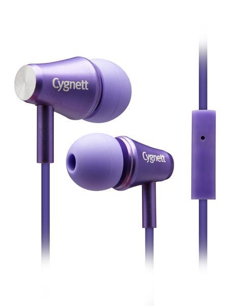 Cygnett Fusion II, slúchadlá do uší s mikrofónom, pre smartfóny, fialové