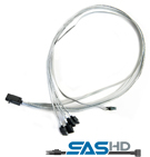 ADAPTEC PMC Internal mini-SAS HD x4 to four x1 SATA fan-out cable with SFF-8448 sideband, Retail