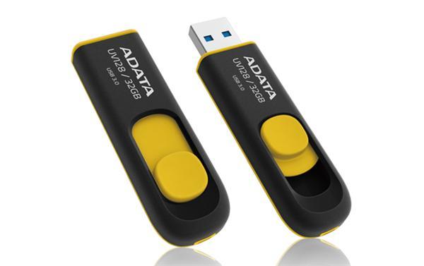 32 GB . USB kľúč . ADATA DashDrive™ Classic UV128 USB 3.0, čierno-žltý