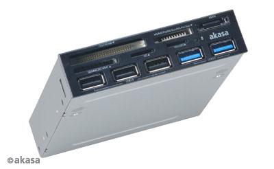 AKASA AK-ICR-16 USB 2.0, eSATA and multiple USB port panel, 5v1
