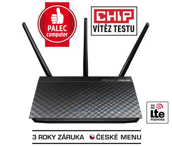 ASUS RT-AC66U, Gigabit Dualband Wireless LAN N Router 802.11ac3 x 5 dbi odnímatelné antény Retail