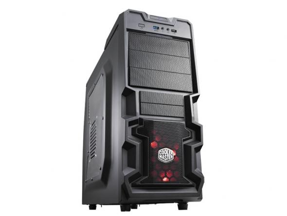 CoolerMaster case miditower K380, ATX, čierna, USB3.0, priehľ. bok, bez zdroja, príprava pre vodné chladenie