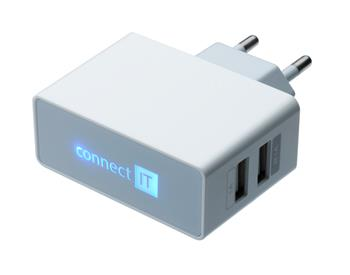 CONNECT IT nabíjací adaptér biely. 2x USB port. POWER CHARGER