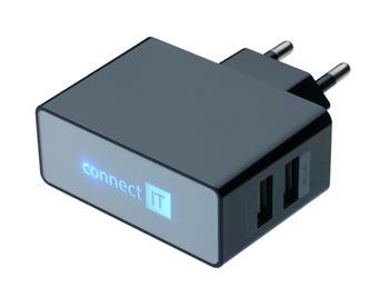 CONNECT IT nabíjací adaptér čierny. 2x USB port.