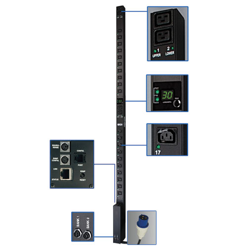 TrippLite Single-Phase Switched PDU, 32A 230V, 0U Vertical Rackmount, 20 C13 and 4 C19 outlets, Blue IEC309 32A, 2P+E in