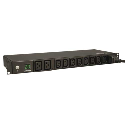 TrippLite Metered PDU, 20A 200-240V, 1U Horizontal Rackmount, 2 C19 and 8 C13 outlets, C20 input with NEMA L6-20P adapte