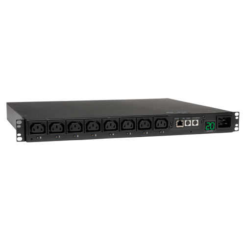 TrippLite Switched PDU, 16/20A 200-240V, 1U Horizontal Rackmount, 8 C13 outlets, C20 inlet with L6-20P and C20 cables