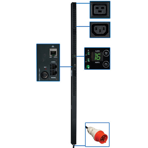 TrippLite 3-Phase Monitored PDU, 11 kW, 36 230V outlets (30-C13, 6-C19) 3m Cord, IEC-309 Red 16A Input, 0U vertical moun