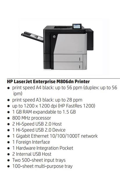 HP LaserJet Enterprise 800 M806dn A3