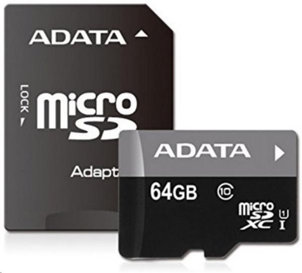 64 GB . microSDHC/SDXC UHS-I karta ADATA class 10 Ultra High Speed + adaptér