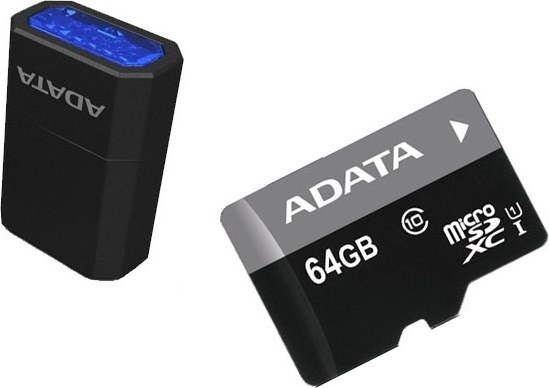 64 GB . microSDHC/SDXC UHS-I karta ADATA class 10 Ultra High Speed + micro-čítačka V3