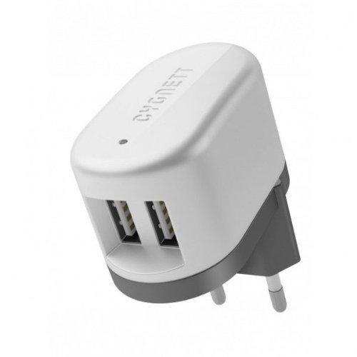 Cygnett PowerBase II EU, Dual USB, 5V/2.1A nabíjačka do steny pre tablety a smartfóny, bez kábla, biela