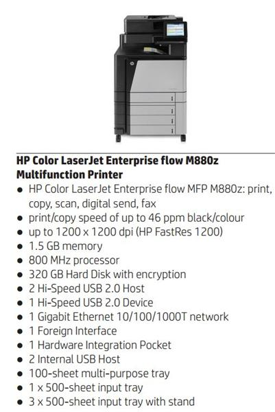 HP Color LaserJet Enterprise flow MFP M880z A3 /náhrada CM60x0/