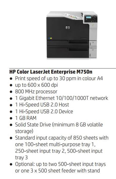 HP Color LaserJet Enterprise M750n A3