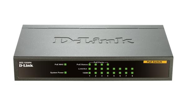 D-Link DES-1008PA 8-port 10/100Mb switch, 4x PoE