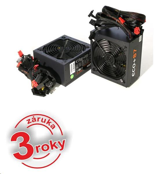 Zdroj 500W, ECO+87 ATX-500WA-14-85(87), APFC, typ. efficiency 87, 14cm fan, bulk