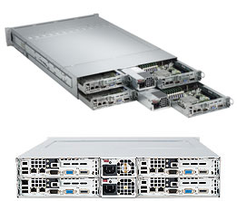Supermicro® Twin2 AS-2022TG-H6RF - 8x 16/12/8Core Opteron 256GB DDR3 1620W Redundant PSU 2U