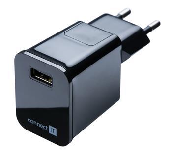 CONNECT IT nabíjací adaptér s USB portom 2.1 A čierny