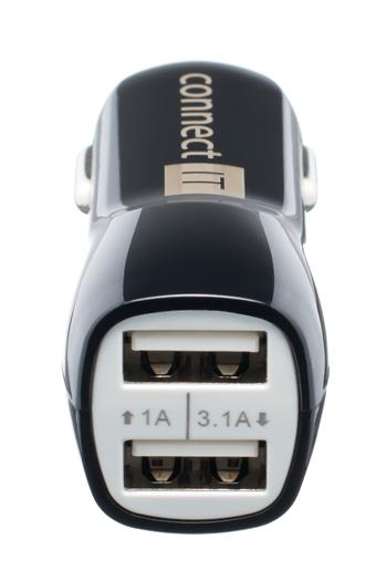 CONNECT IT PREMIUM USB auto adaptér do autozapaľovača, 2× USB - 3,1A a 1A, čierny