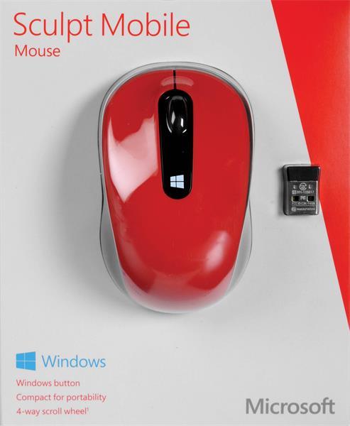 Myš Sculpt Mobile Mouse - Flame Red V2 - cervena