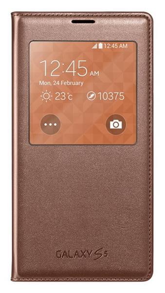 Samsung flipové púzdro s oknom pre Galaxy S5, Zlatá