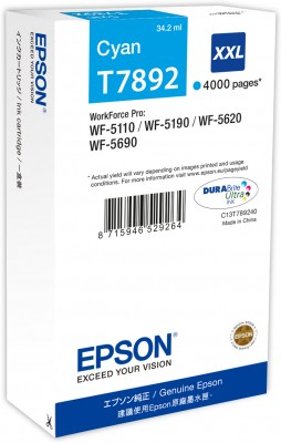 Epson atrament WF5000 series cyan XXL - 34.2ml