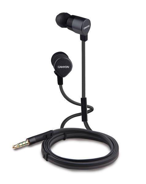 Canyon CNE-CEP1B, slúchadlá do uší pre smartfóny, integrovaný mikrofón, čierne