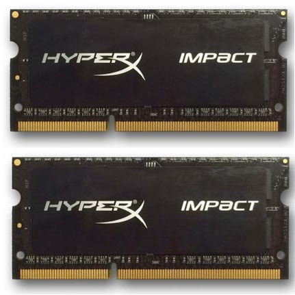 DDR 3 8 GB 1600MHz . SODIMM CL9 ..... Kingston HyperX Impact Black Series 1,35V (2x4GB)