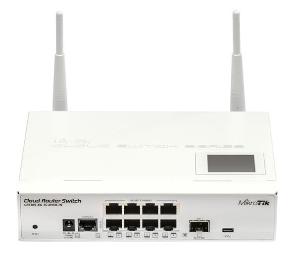 MIKROTIK RouterBOARD Cloud Router Switch CRS109-8G-1S-2HnD-IN +L5 (600MHz;128MB RAM;8x GLAN; 1x 2GHz 802.11b/g/n; 1x SFP
