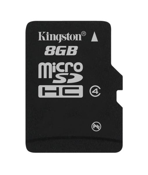 8 GB . microSDHC karta Kingston Class 4 (r/w 4MB/s) bez adaptéra