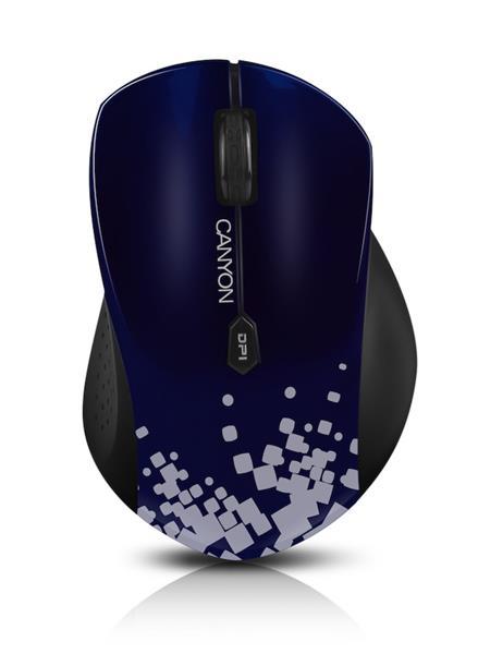 Canyon CNS-CMSW4BL, Wireless optická myš USB, 800/1280 dpi, 6 tlač, Power Saving, modrá