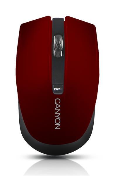 Canyon CNS-CMSW5R, Wireless optická myš USB, 800/1280 dpi, 4 tlač, Power Saving, červená
