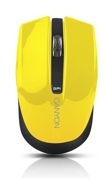 Canyon CNS-CMSW5Y, Wireless optická myš USB, 800/1280 dpi, 4 tlač, Power Saving, žltá