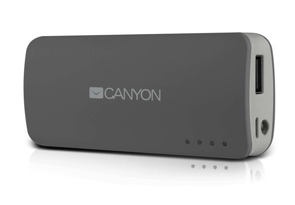Canyon CNE-CPB44DG Powerbank 4400mAh, single USB 5V/1A, pre smartfóny a tablety, šedá