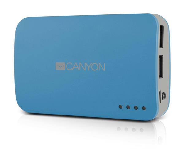 Canyon CNE-CPB78BL externá batéria s nabíjačkou 7800mAh, dual USB 5V/1A/2A, pre smartfóny a tablety, modrá