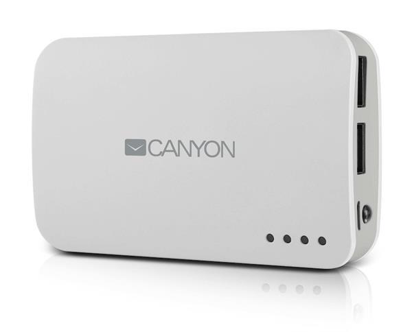 Canyon CNE-CPB78W externá batéria s nabíjačkou 7800mAh, dual USB 5V/1A/2A, pre smartfóny a tablety, biela
