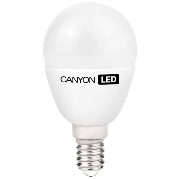 Canyon LED COB žiarovka, E14, kompakt guľatá mliečna, 3.3W, 250 lm, teplá biela 2700K, 220-240V, 150°, Ra>80, 50.000 h
