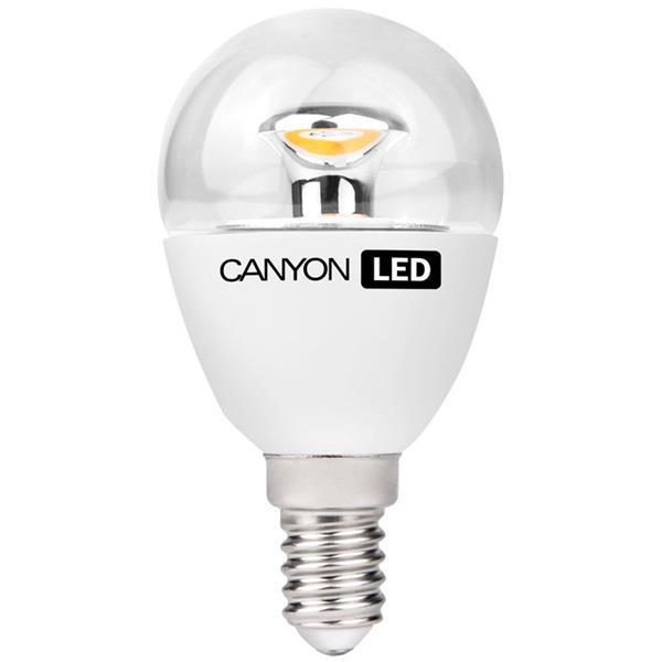 Canyon LED COB žiarovka, E14, kompakt guľatá priehľad. 3.3W, 250 lm, teplá biela 2700K, 220-240V, 150°, Ra>80, 50.000 h