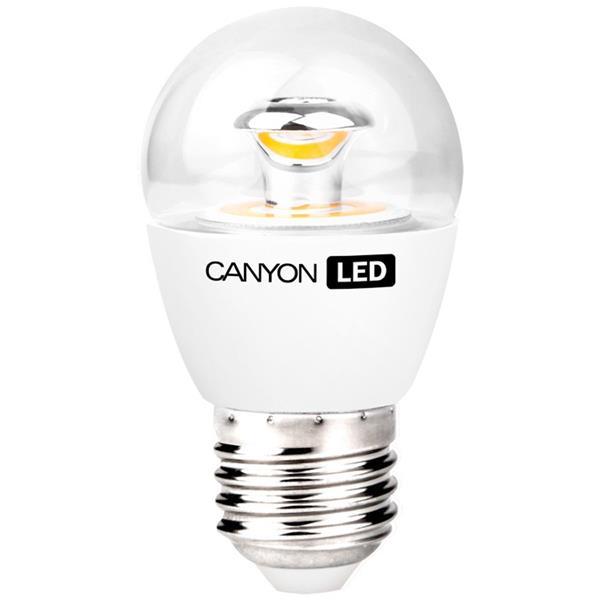 Canyon LED COB žiarovka, E27, kompakt guľatá priehľadn, 3.3W, 250 lm, teplá biela 2700K, 220-240V, 150°, Ra>80, 50.000 h