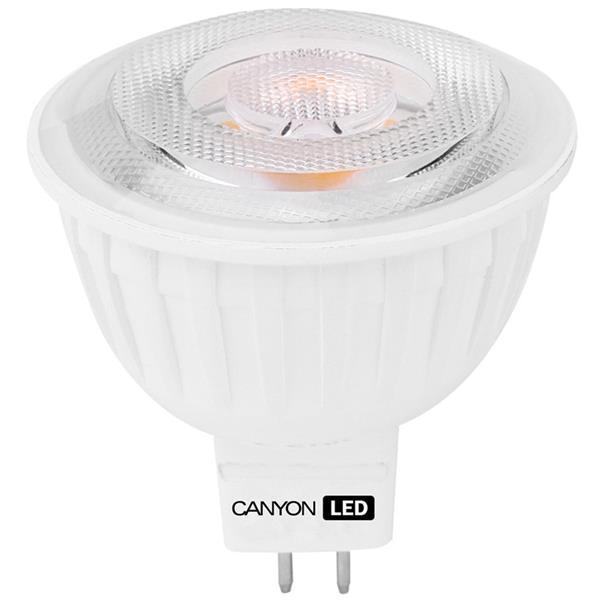 Canyon LED COB žiarovka, GU5.3, bodová MR16, 4.8W, 300 lm, teplá biela 2700K, 12V, 60°, Ra>80, 50.000 hod