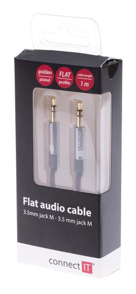 CONNECT IT Wirez 3,5mm prepojovací audio jack kábel, plochý, 1m