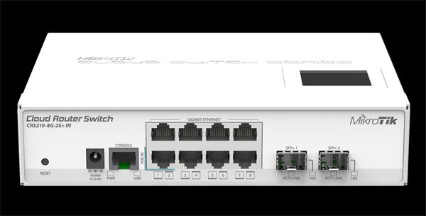 MIKROTIK RouterBOARD Cloud Router Switch CRS210-8G-2S+IN (400MHz; 64MB RAM; 8xGLAN; 2xSFP+) desktop