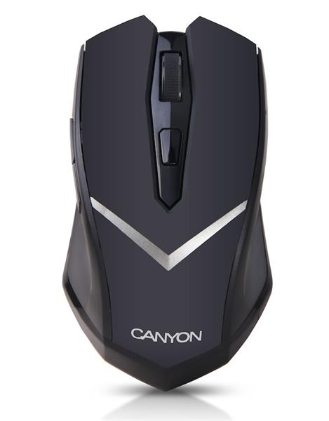 Canyon CNE-CMSW3, Wireless optická myš USB, 800/1600 dpi, 6 tlač, ostrý V-Dizajn, Power Saving, pre prav. aj ľav.,čierna