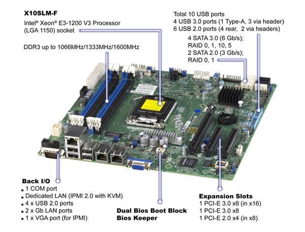 Supermicro MB Xeon E3-1200V3 X10SLX-F C222 2xGLAN RAID 4x PCI-X 64-bit slots
