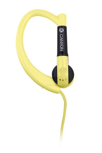 Canyon CNS-SEP1Y slúchadlá do uší pre športovcov, integrovaný mikrofón a ovládanie, háčik za ucho, žlté