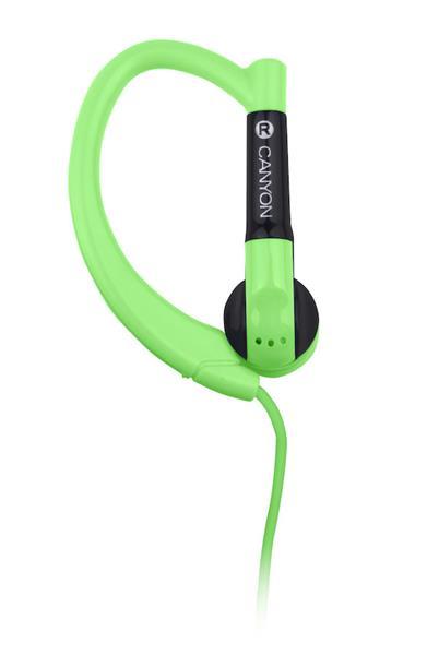 Canyon CNS-SEP1G slúchadlá do uší pre športovcov, integrovaný mikrofón a ovládanie, háčik za ucho, zelené