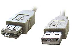 Kábel USB A-A 2.0 predlžovací, 1m, typ AM-AF šedý