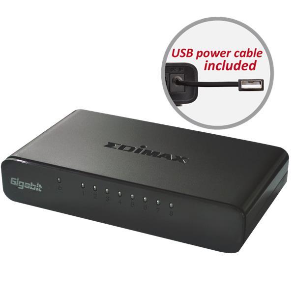 Edimax ES-5800G v3 switch 8x 10/100/1000Mbps desktop (usb cable)