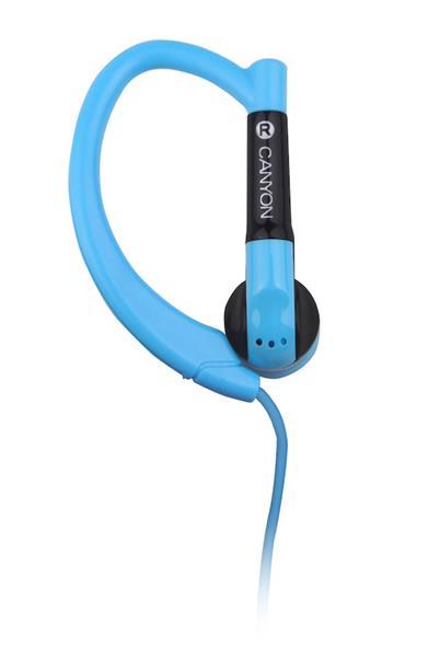 Canyon CNS-SEP1BL slúchadlá do uší pre športovcov, integrovaný mikrofón a ovládanie, háčik za ucho, modré