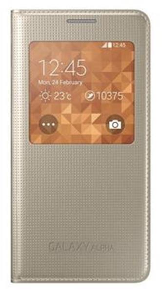 Samsung flipové púzdro s oknom pre Galaxy Alpha, Zlatá